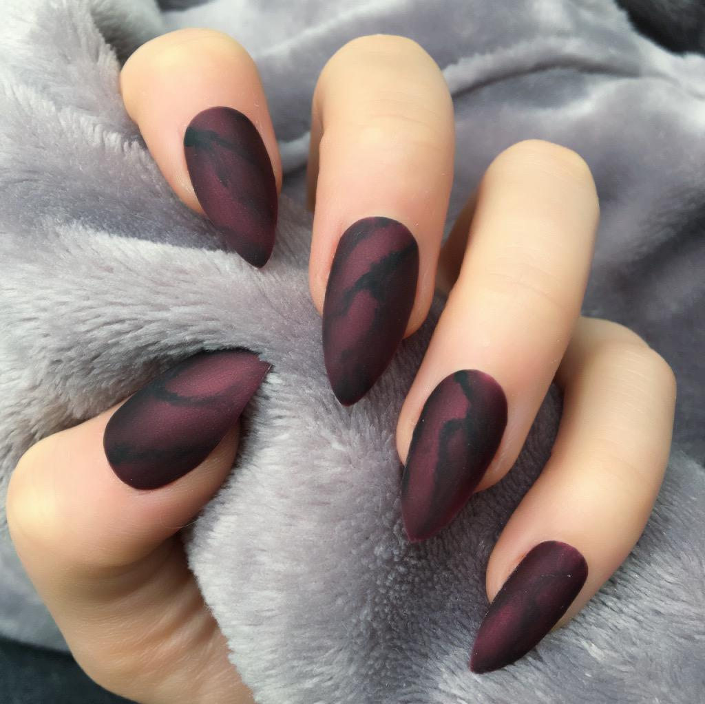 Deep Red Marble Matte Stiletto – Doobys Nails