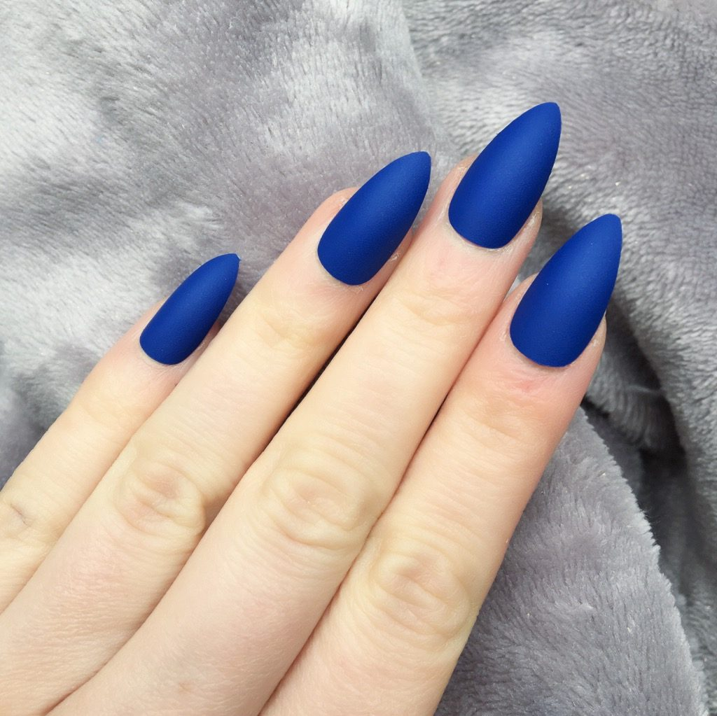 Electric Blue Matte Stiletto – Doobys Nails