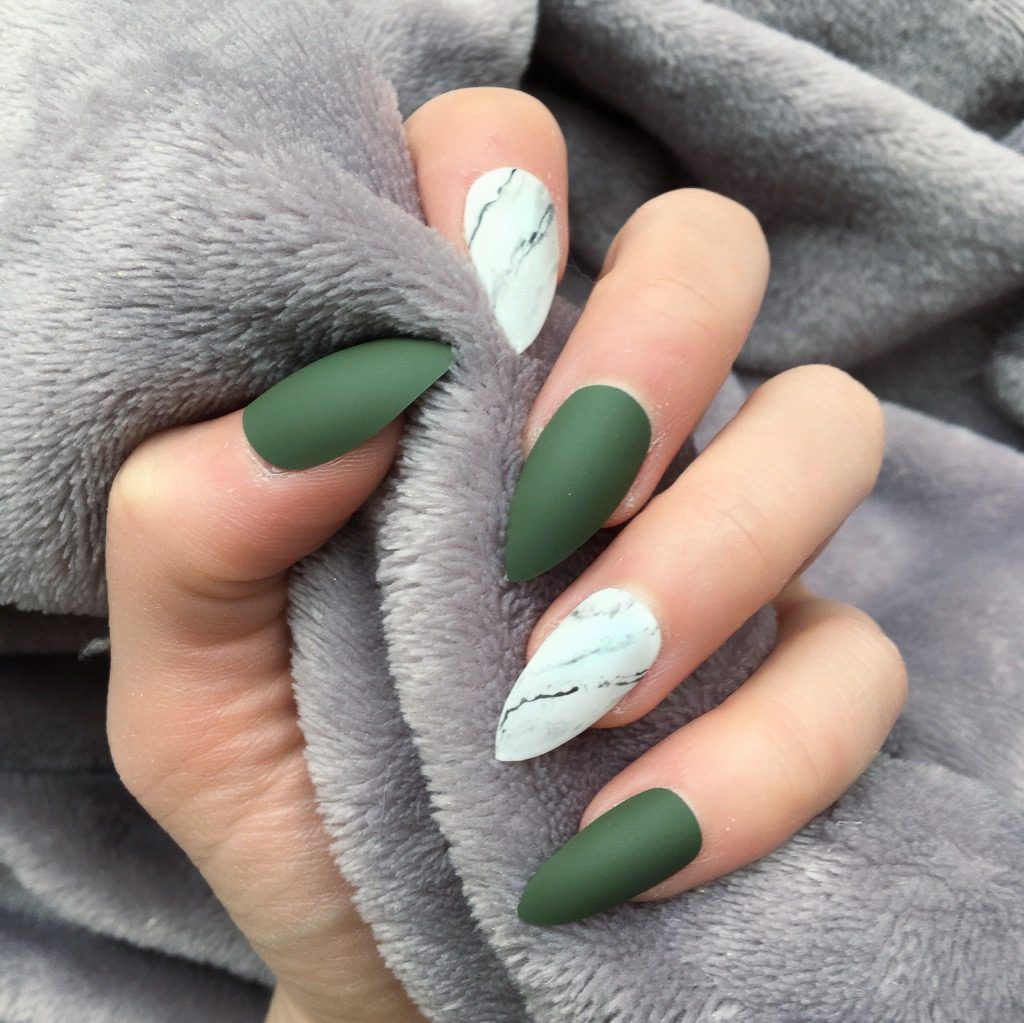 Deep Khaki Matte Marble Stiletto – Doobys Nails