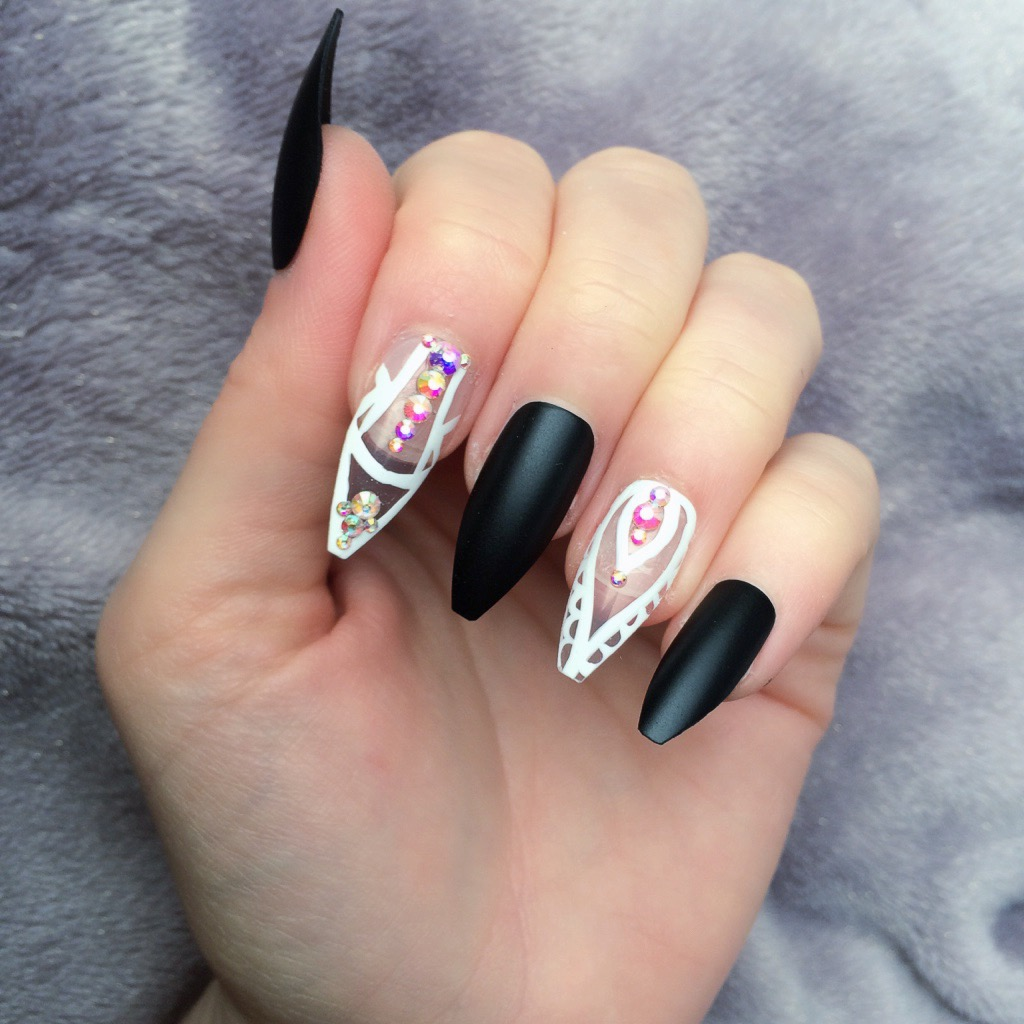 Black Matte Chic Long Coffin – Doobys Nails