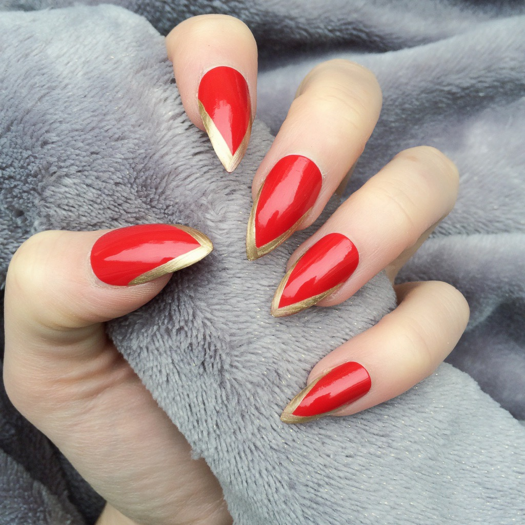 Light Mani Hot Red Gold Stiletto – Doobys Nails
