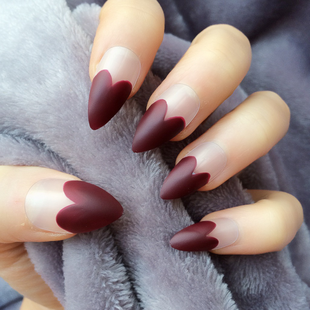 Heart Tip Deep Red Matte Stiletto