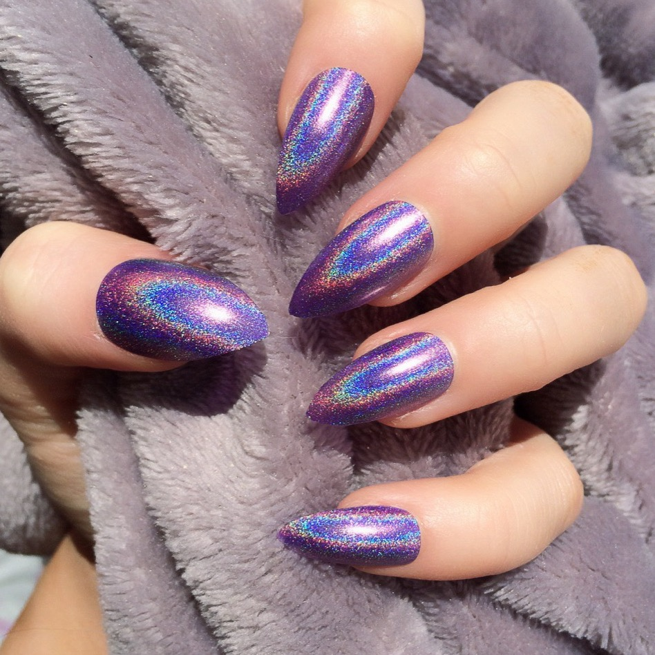 Holographic Purple Stiletto – Doobys Nails