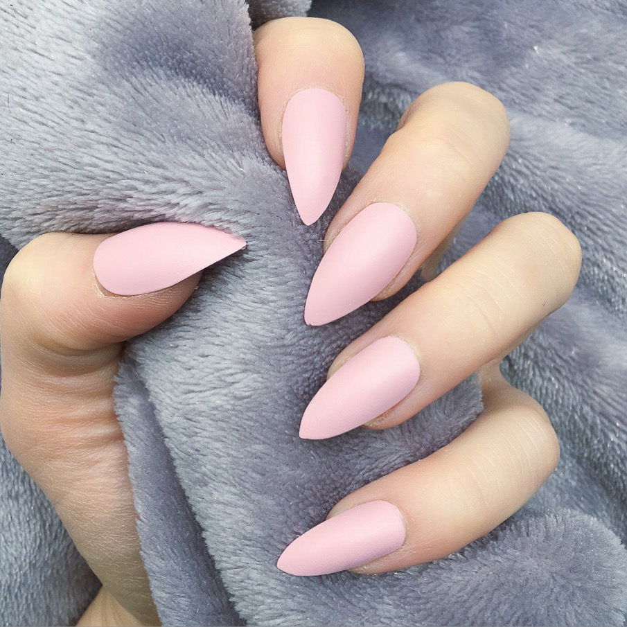 Baby Pink Matte Stiletto – Doobys Nails