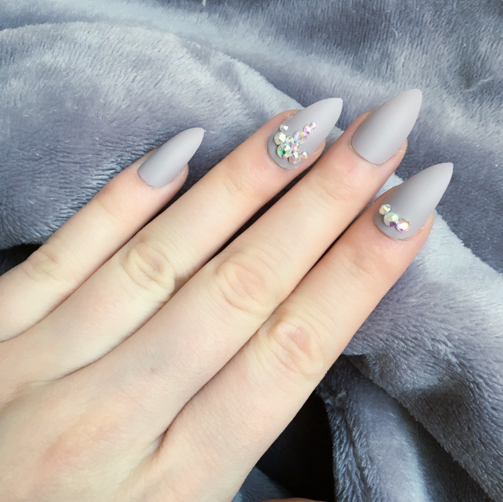 Taupe Matte Fancy Stiletto – Doobys Nails