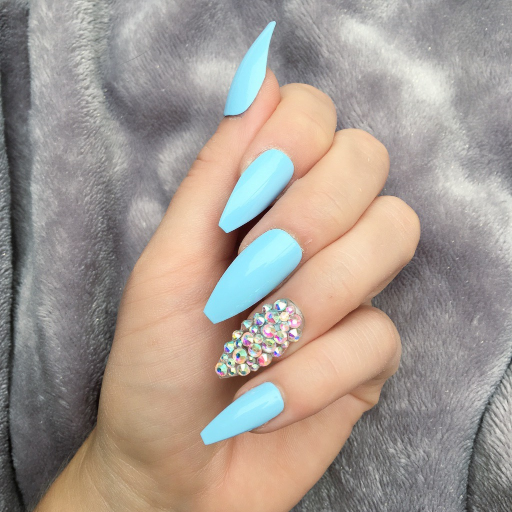Coffin Nails Blue | Best Nail Designs 2018