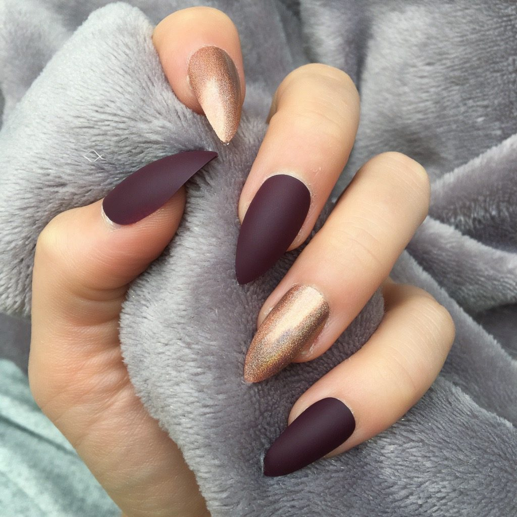 maroon matte holographic mocha stiletto doobys nails. Black Bedroom Furniture Sets. Home Design Ideas