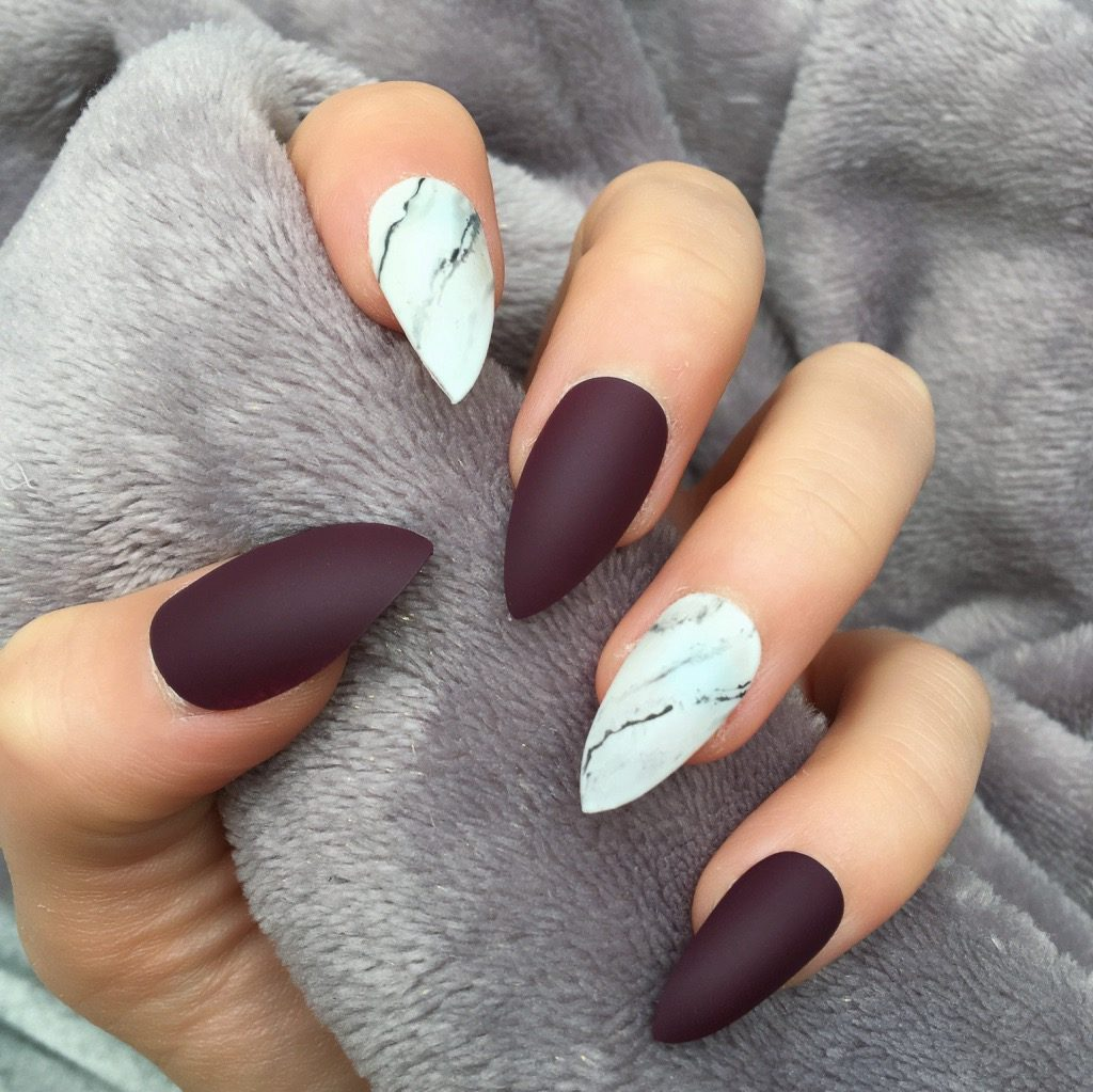Maroon Matte Marble Stiletto – Doobys Nails
