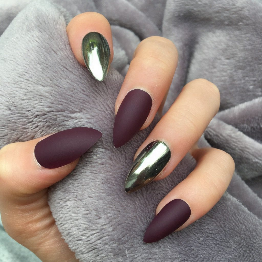 Maroon Matte Mirror Silver Stiletto – Doobys Nails