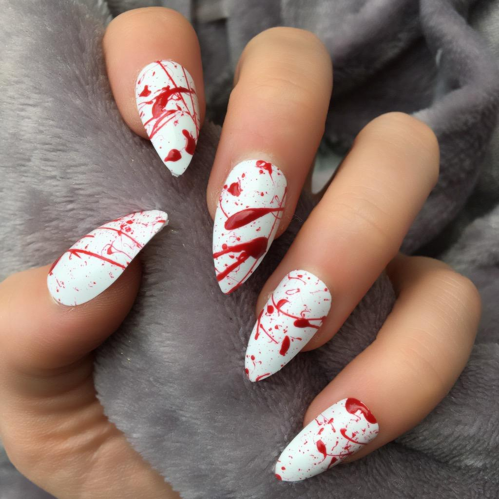Blood Splatter Stiletto – Doobys Nails