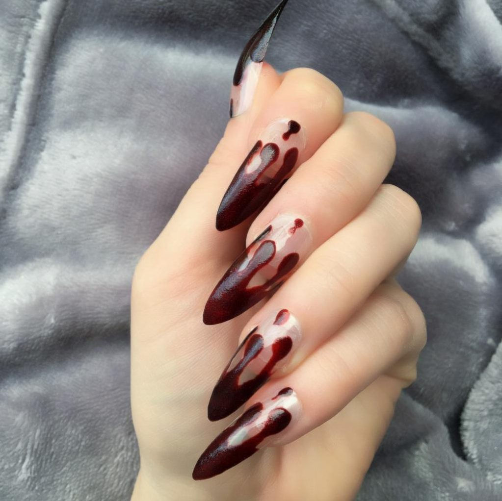 Blood Dripping Long Stiletto – Doobys Nails