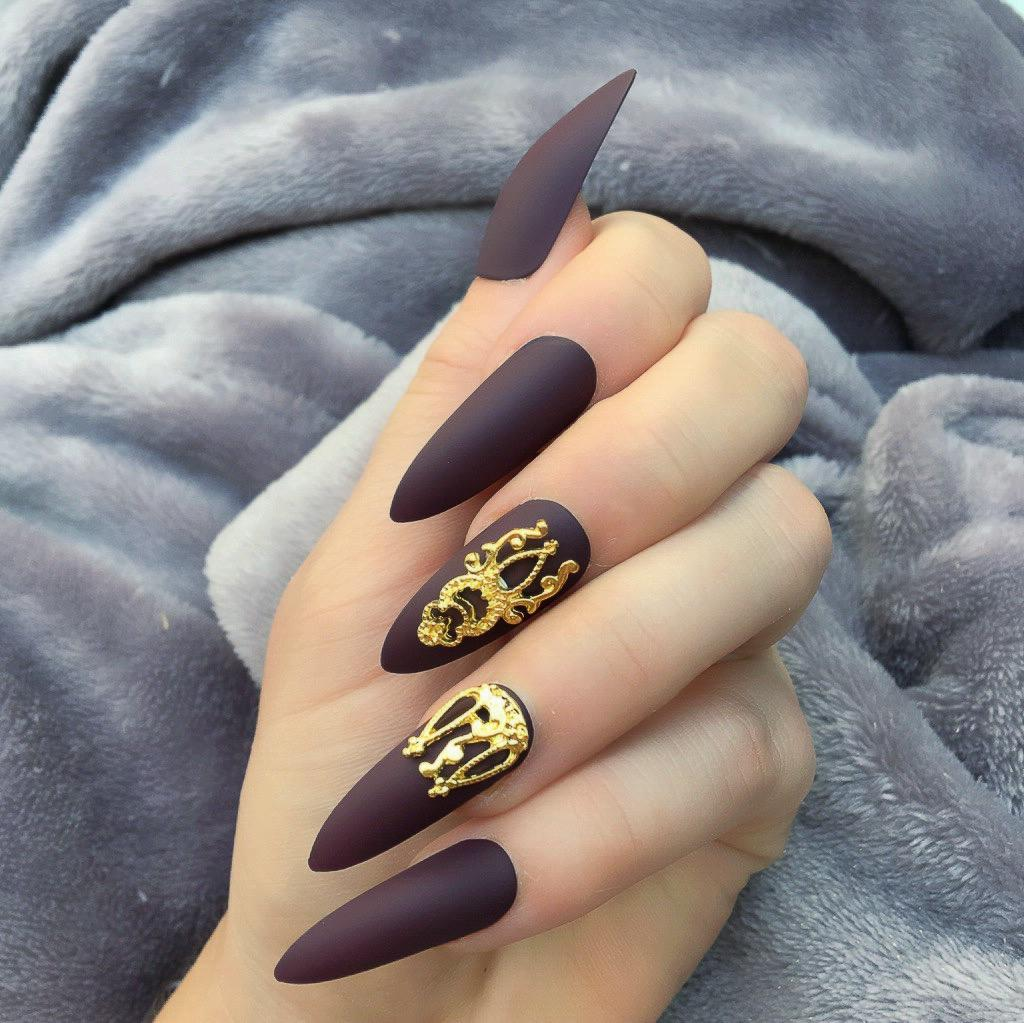 Maroon Matte Gold Accent Long Stiletto – Doobys Nails
