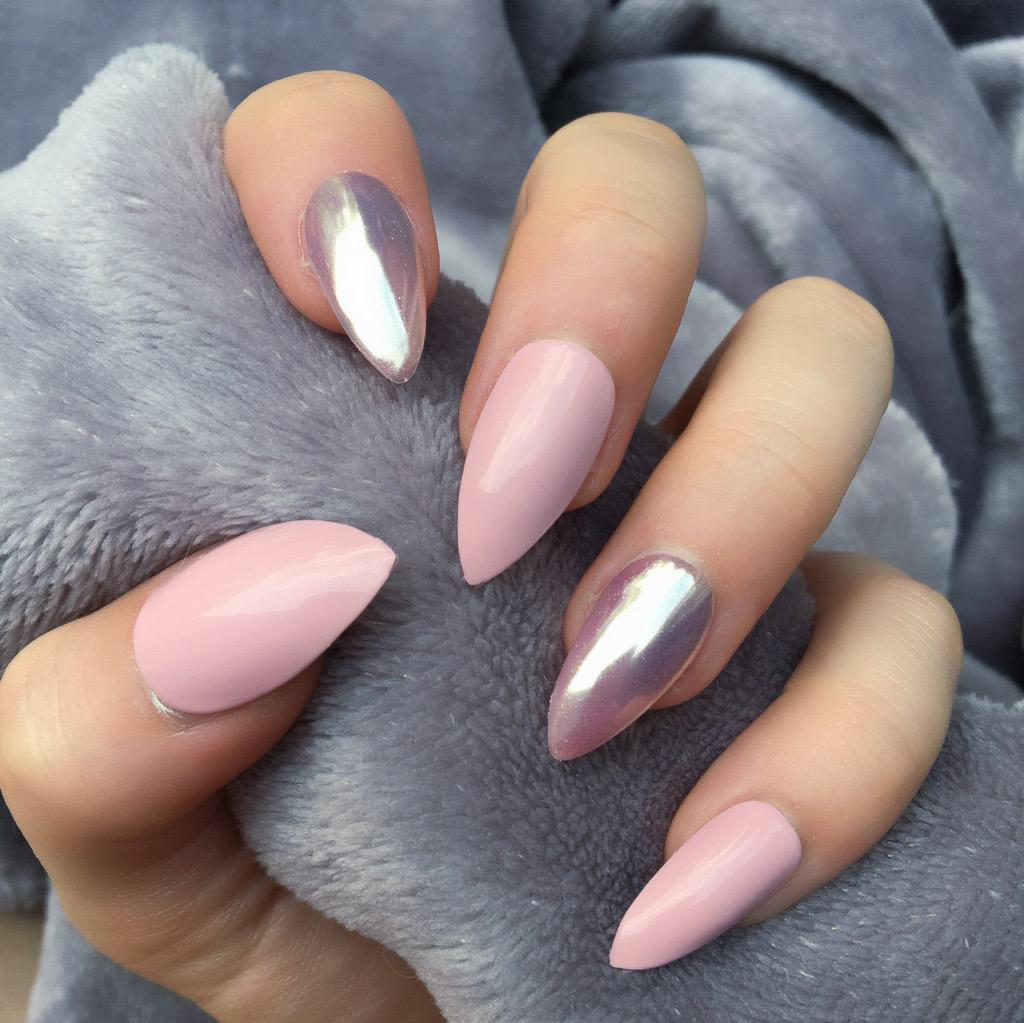 Baby Pink Gloss Mirror Rose Gold Stiletto – Doobys Nails