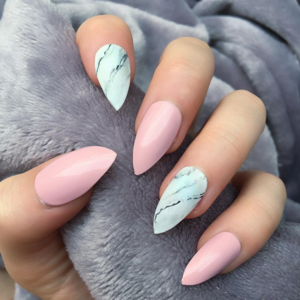 Baby Pink Gloss Marble Stiletto Doobys Nails