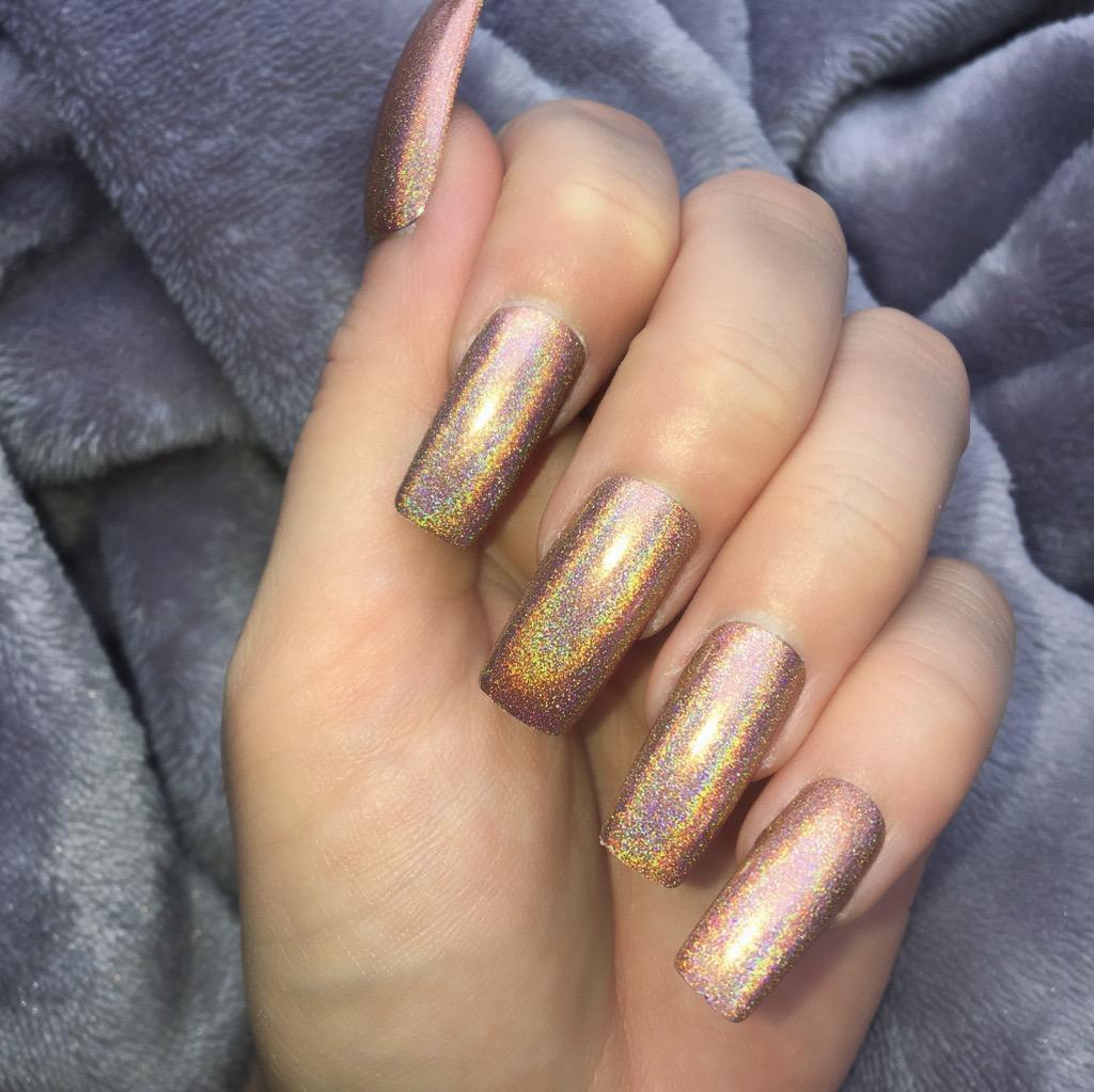 Holographic Mocha Long Square – Doobys Nails