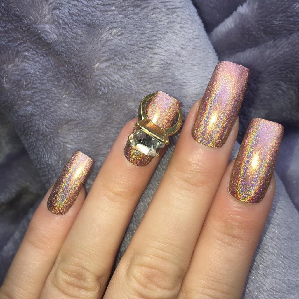 Holographic Mocha RF Gold Ring Long Square – Doobys Nails