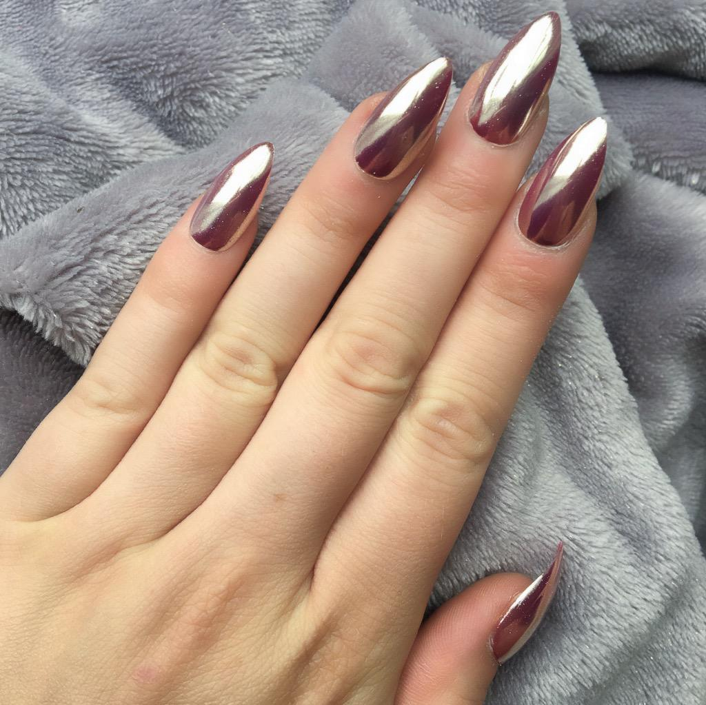 Rose Gold Mirror Stiletto – Doobys Nails