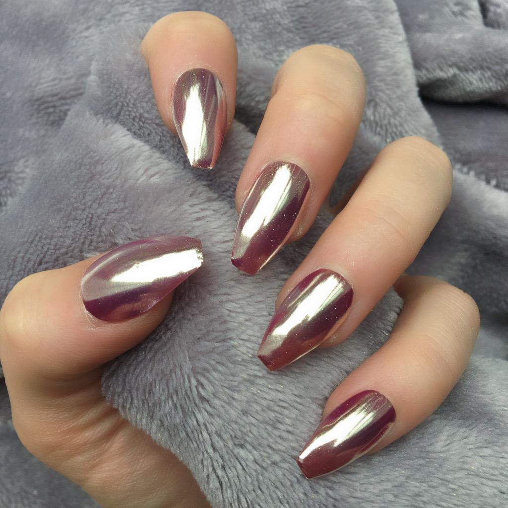 Rose Gold Mirror Coffin – Doobys Nails