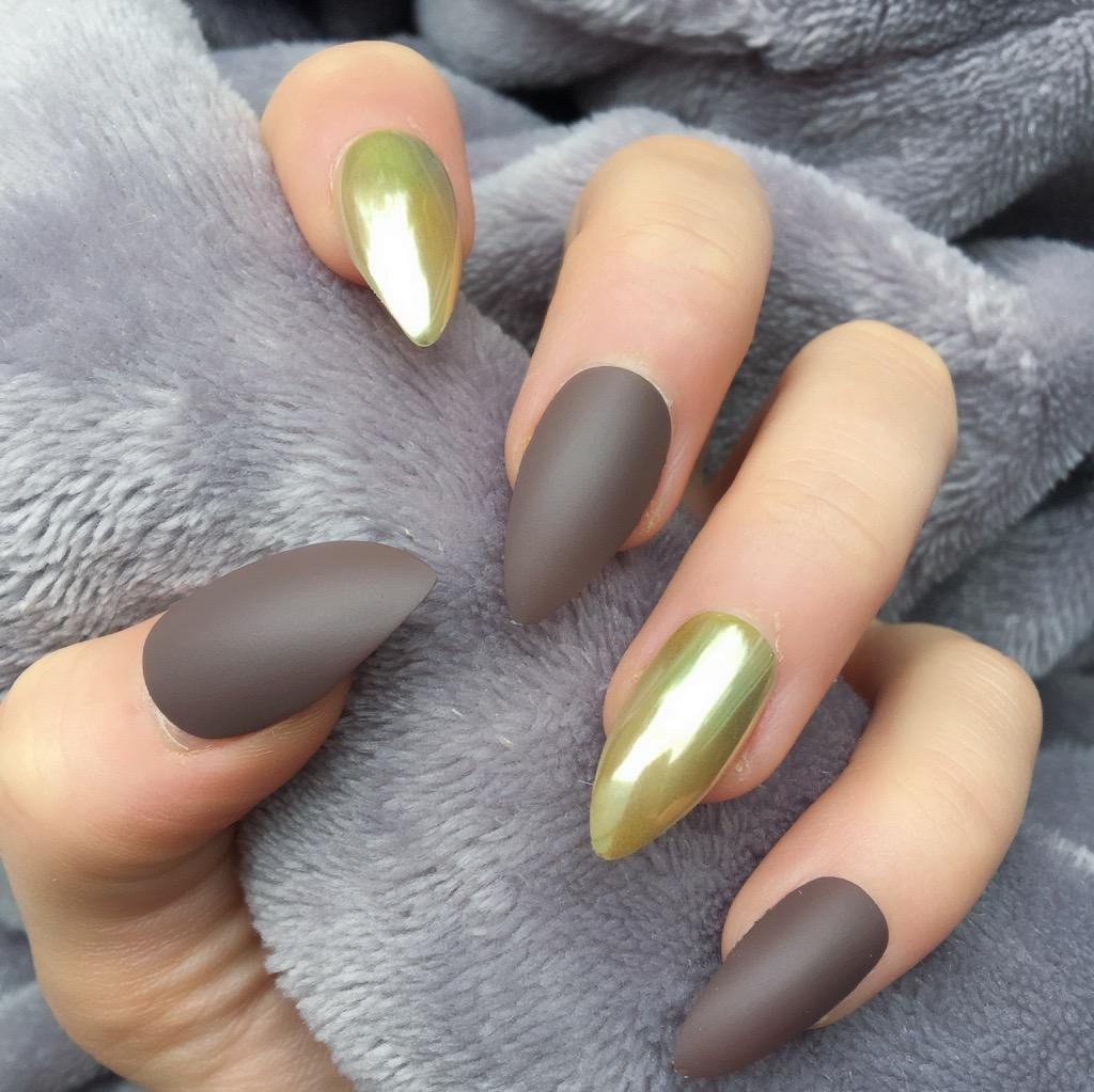 Fashion style Mirror gold nails for woman