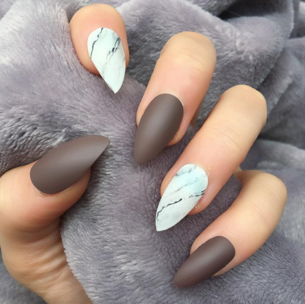 Brown Matte Marble Stiletto – Doobys Nails