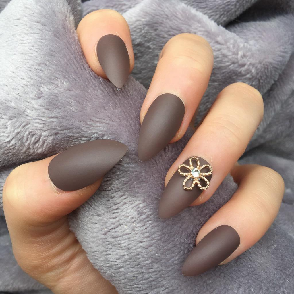 Brown Matte RF Lily Stiletto – Doobys Nails