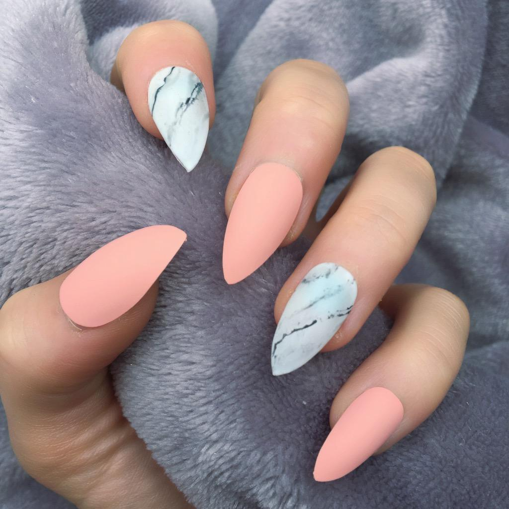 Peach Matte Marble Stiletto – Doobys Nails
