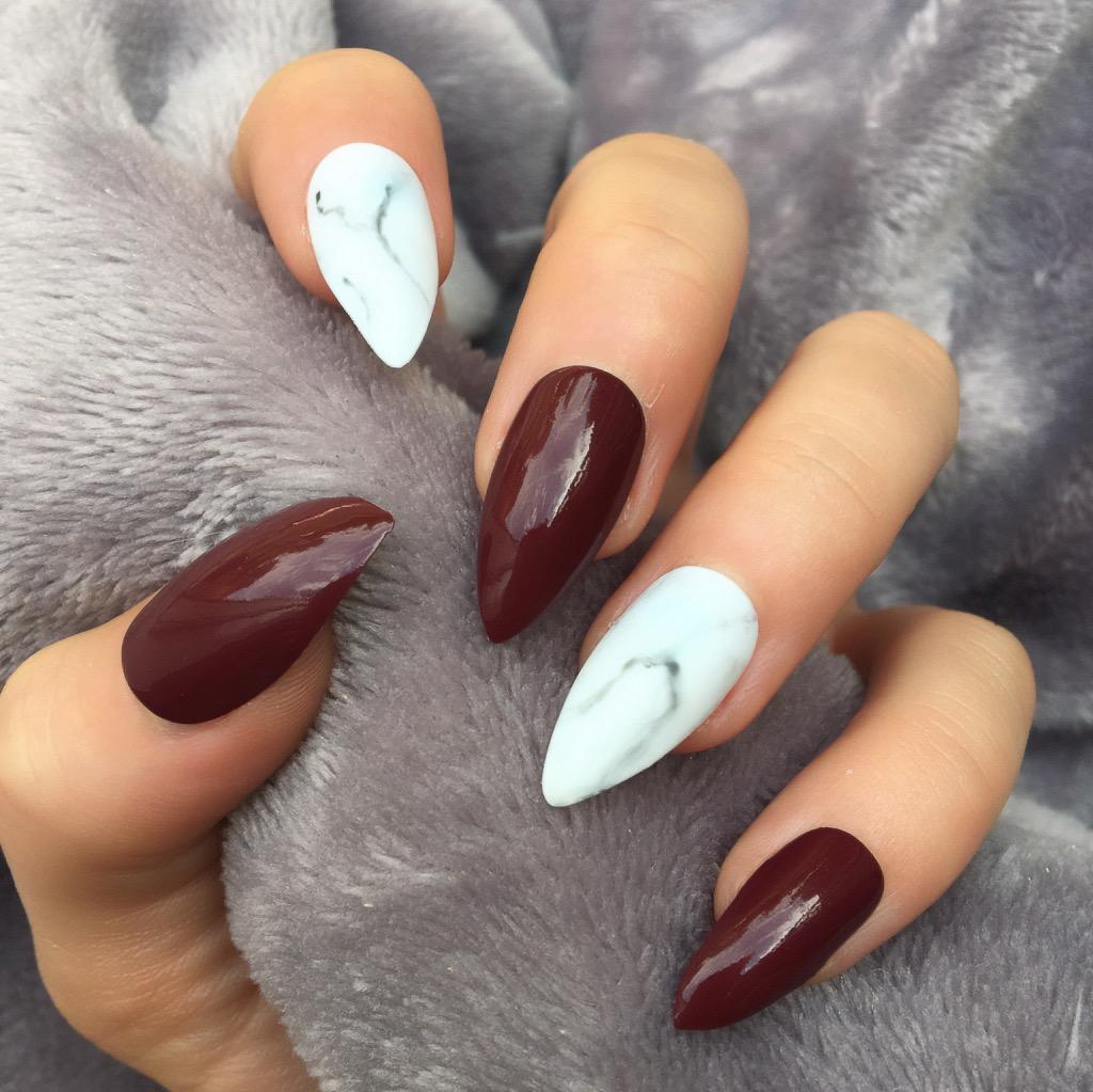 Blood Red Gloss Marble Stiletto – Doobys Nails