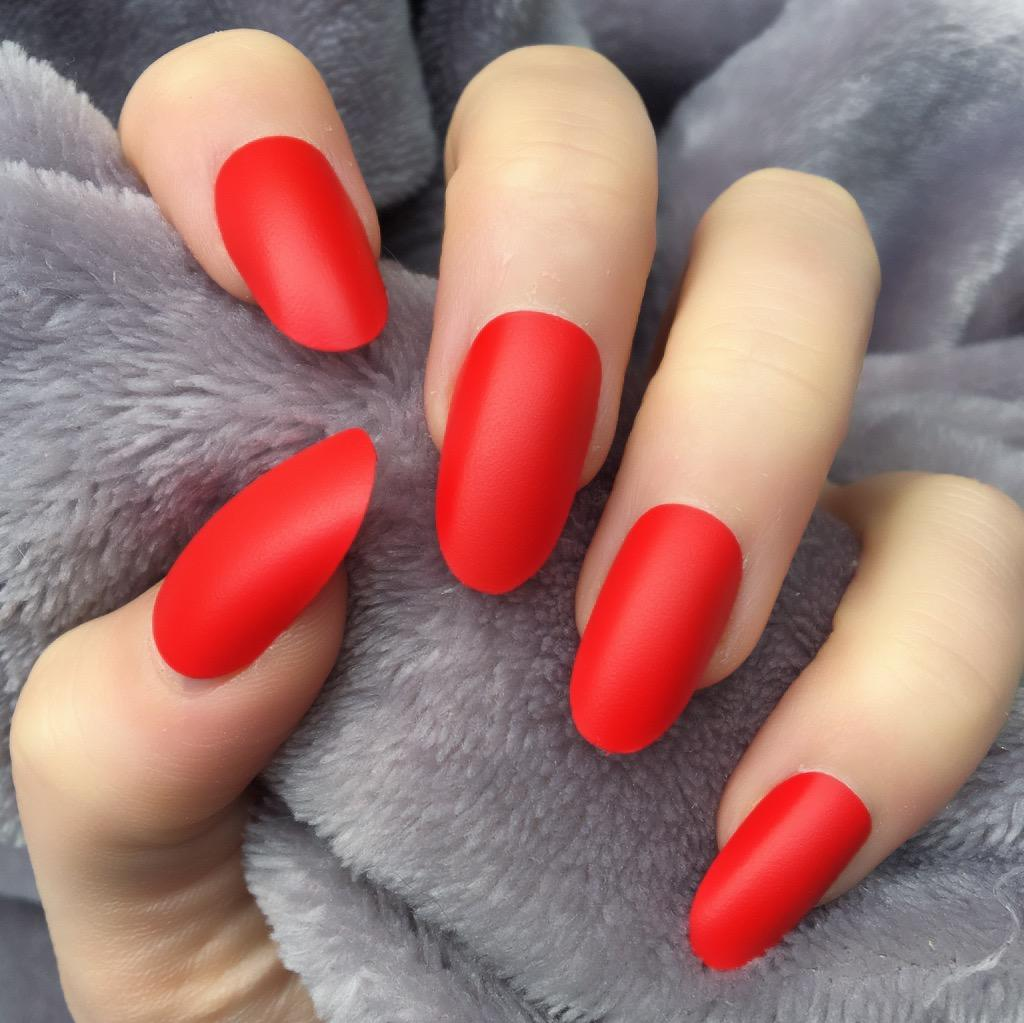 Hot Red Matte Oval – Doobys Nails