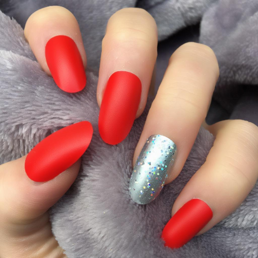 Hot Red Matte RF Sparkle Oval – Doobys Nails