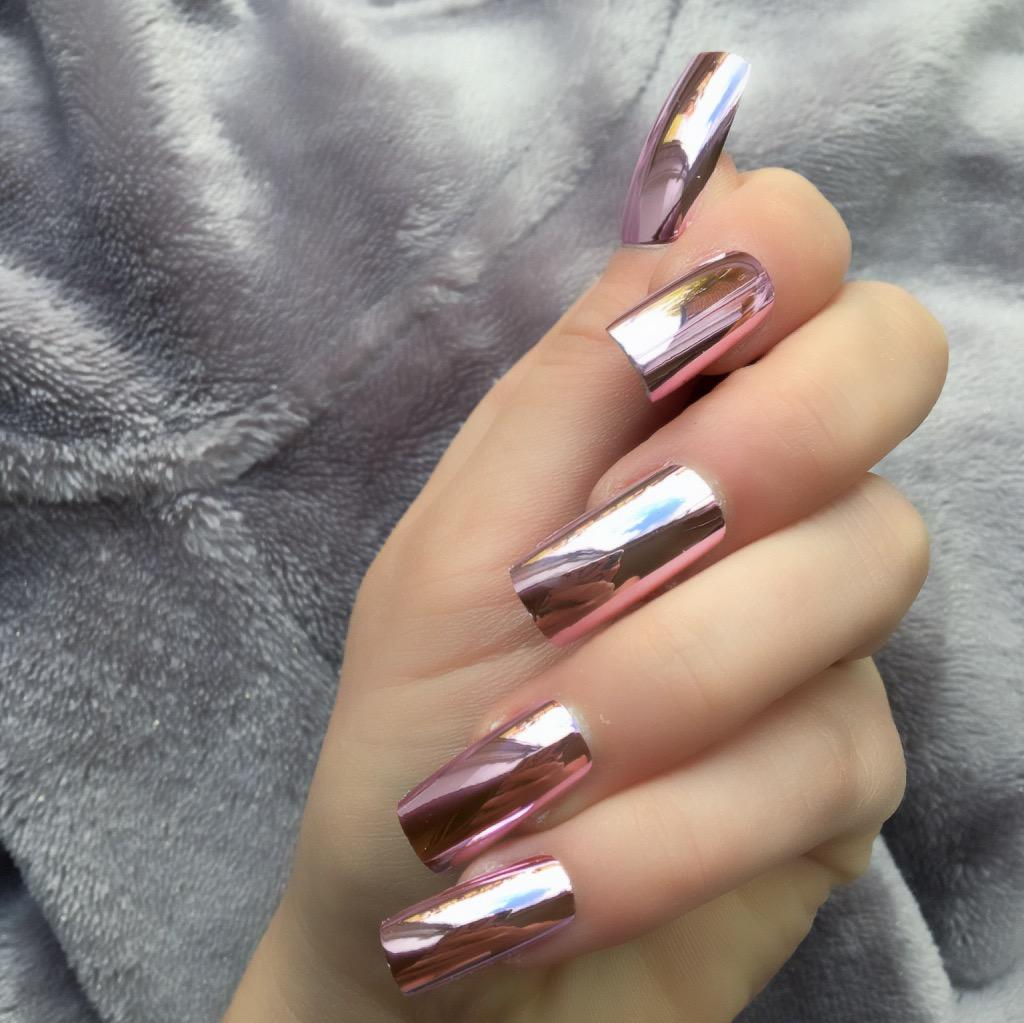 Rose Chrome Long Square – Doobys Nails
