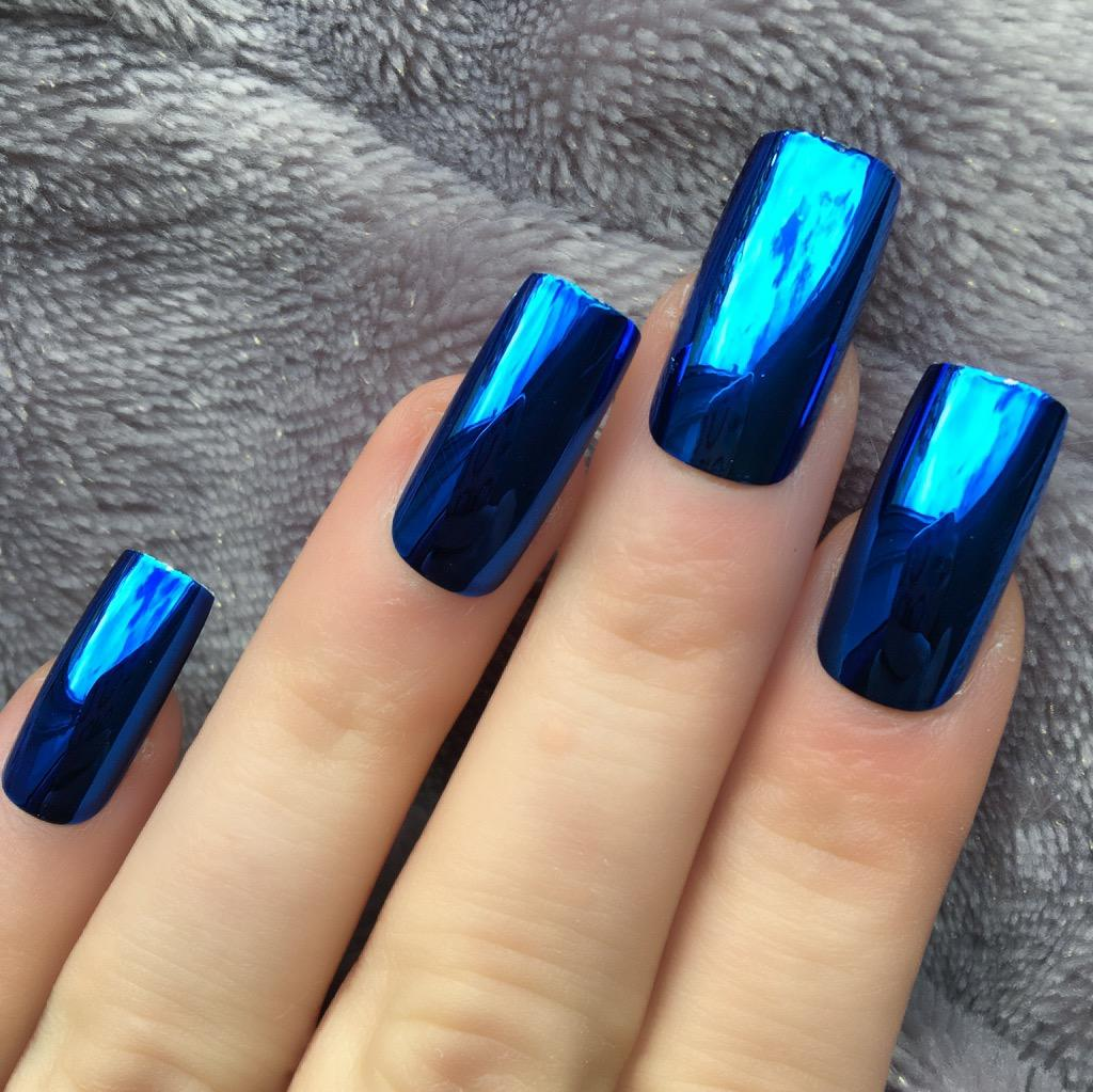 Blue Chrome Long Square