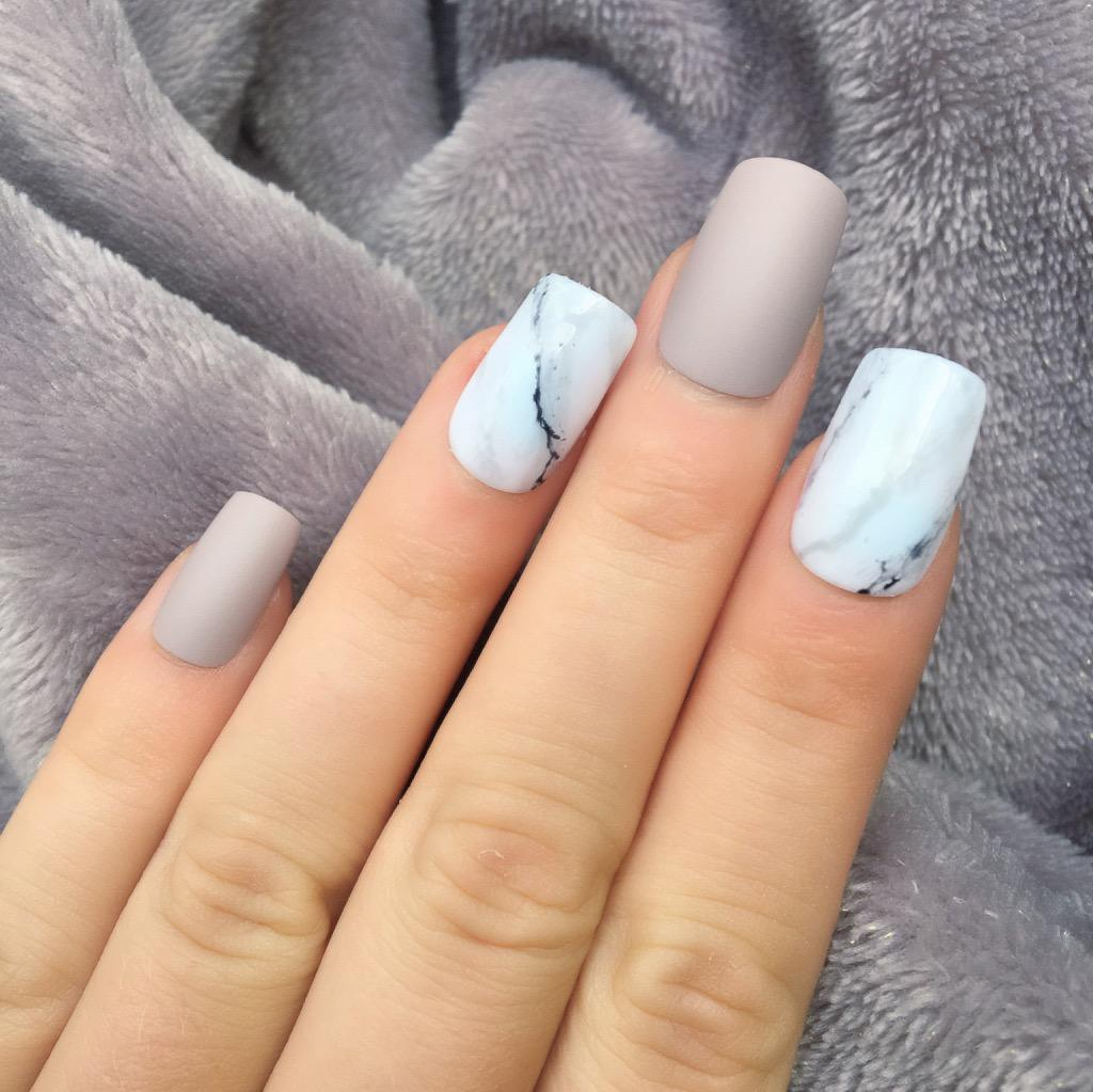 Taupe Matte Marble Short Square – Doobys Nails