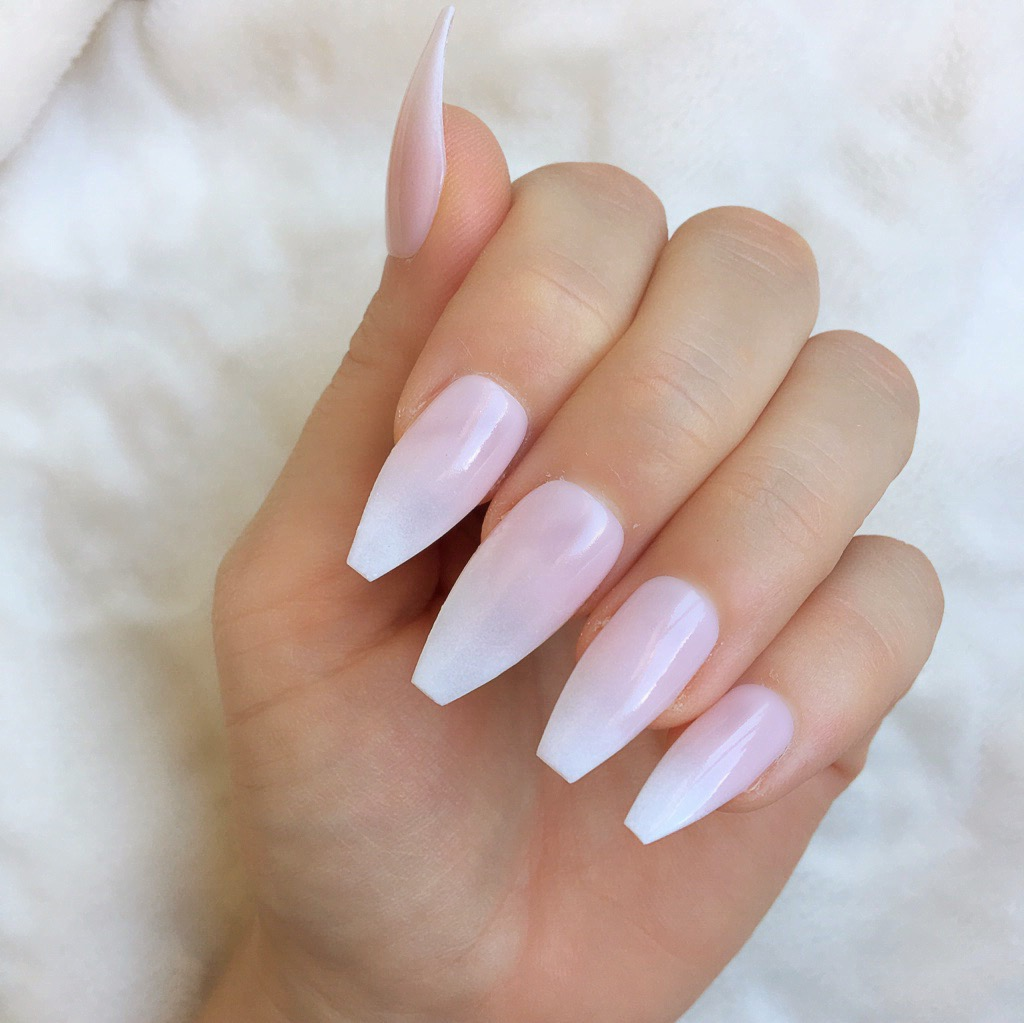 Natural Ombre Long Coffin – Doobys Nails