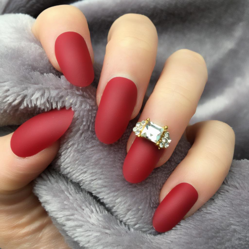 Cherry Matte RF Half Ring Oval – Doobys Nails