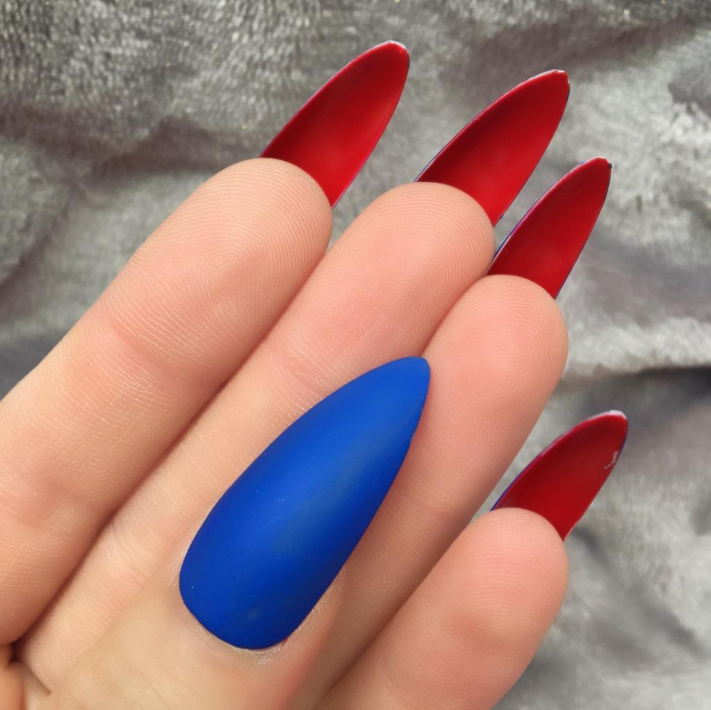 Electric Blue Matte Red Bottom Long Stiletto – Doobys Nails