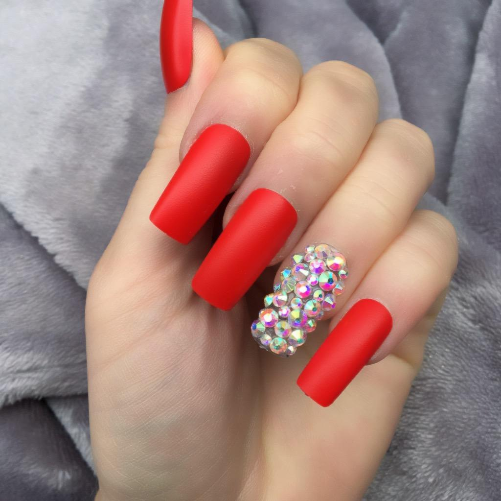 Hot Red Matte RF Diamante Long Square – Doobys Nails