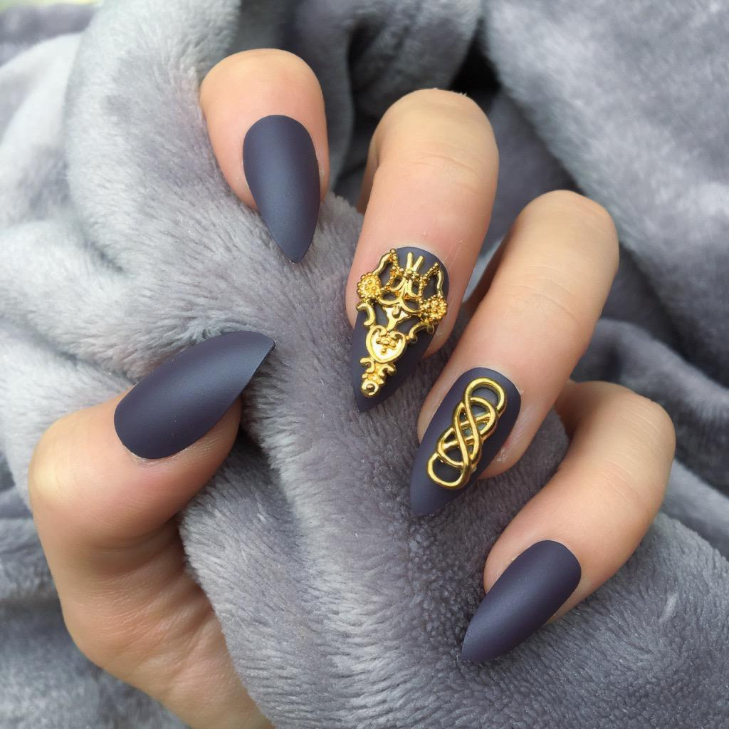 Deep Purple Matte Temple Stiletto – Doobys Nails