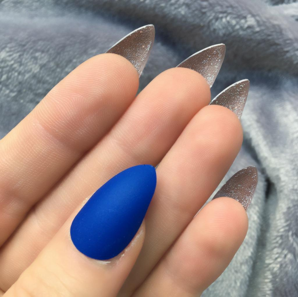 Electric Blue Matte Glitter Bottom Stiletto – Doobys Nails