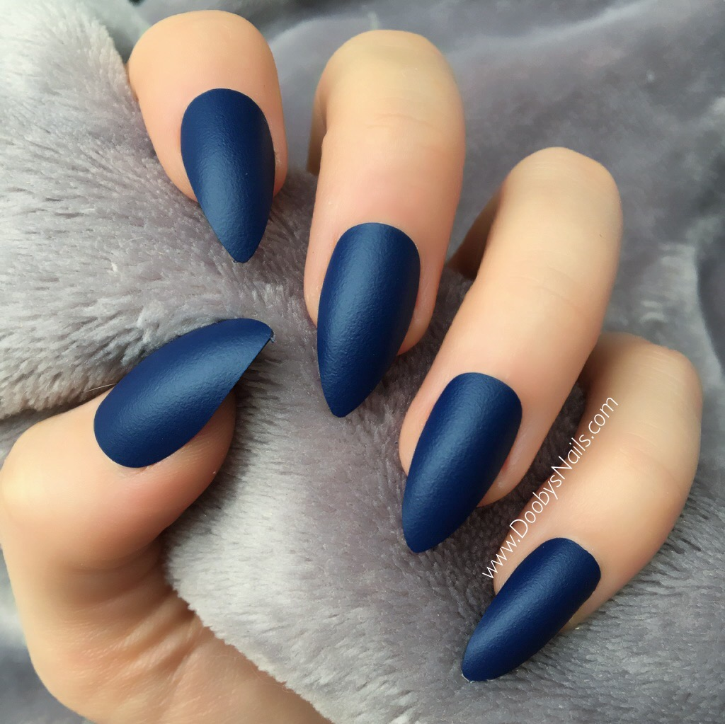 Ocean Blue Matte Stiletto – Doobys Nails