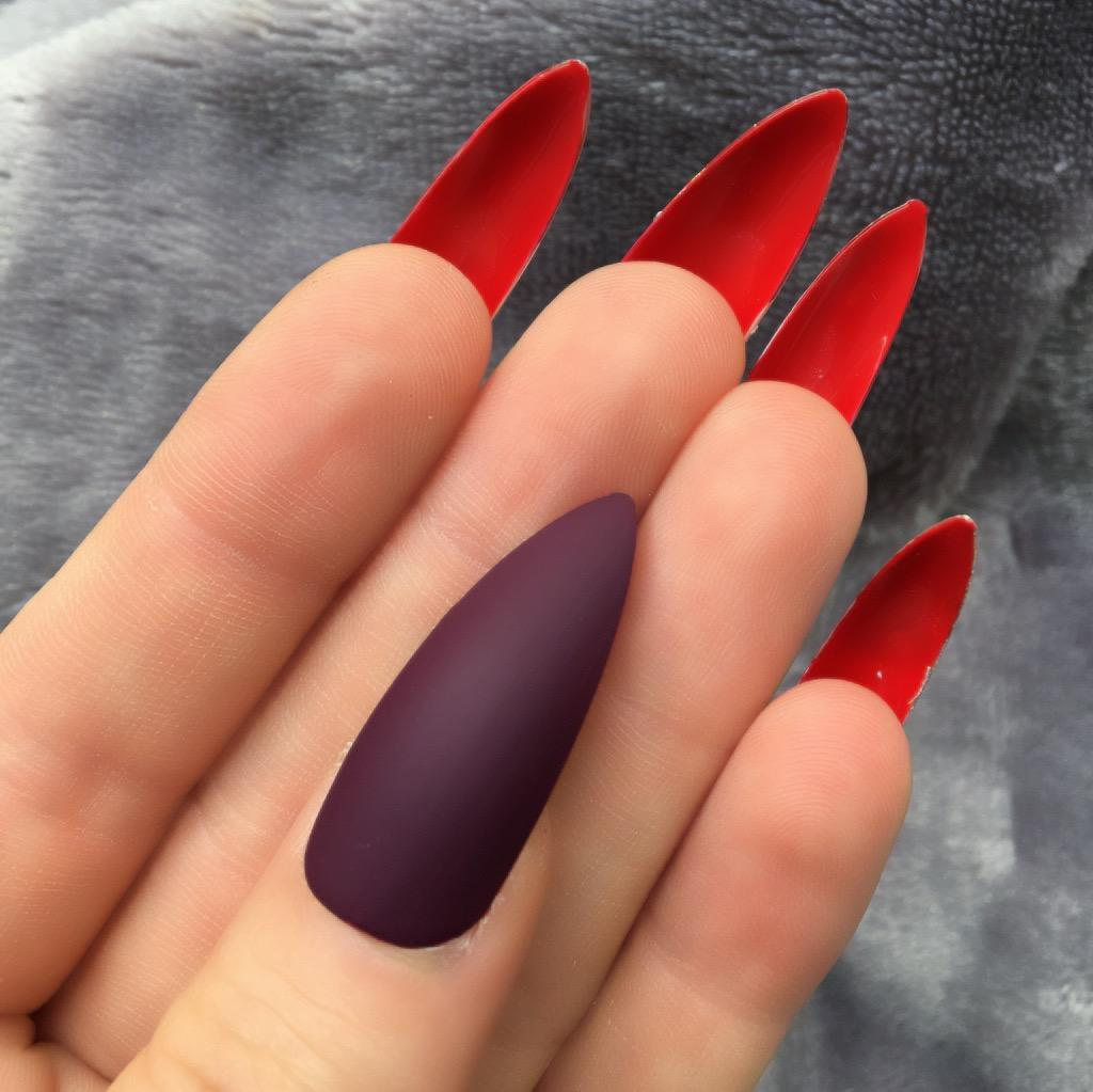 Maroon Matte Red Bottom Long Stiletto – Doobys Nails