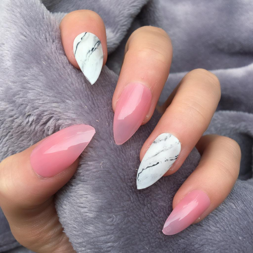 Sheer Pink Marble Stiletto – Doobys Nails