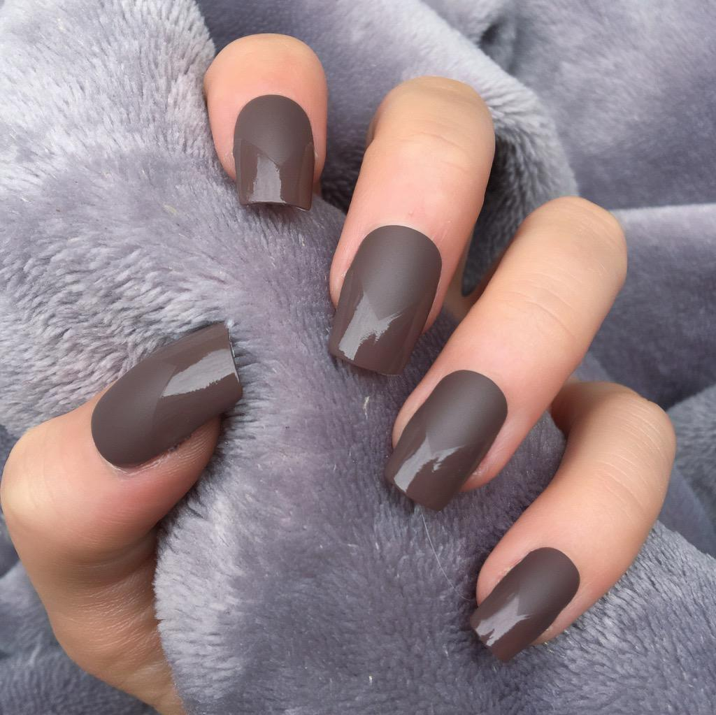Brown Matte Light Mani Short Square – Doobys Nails