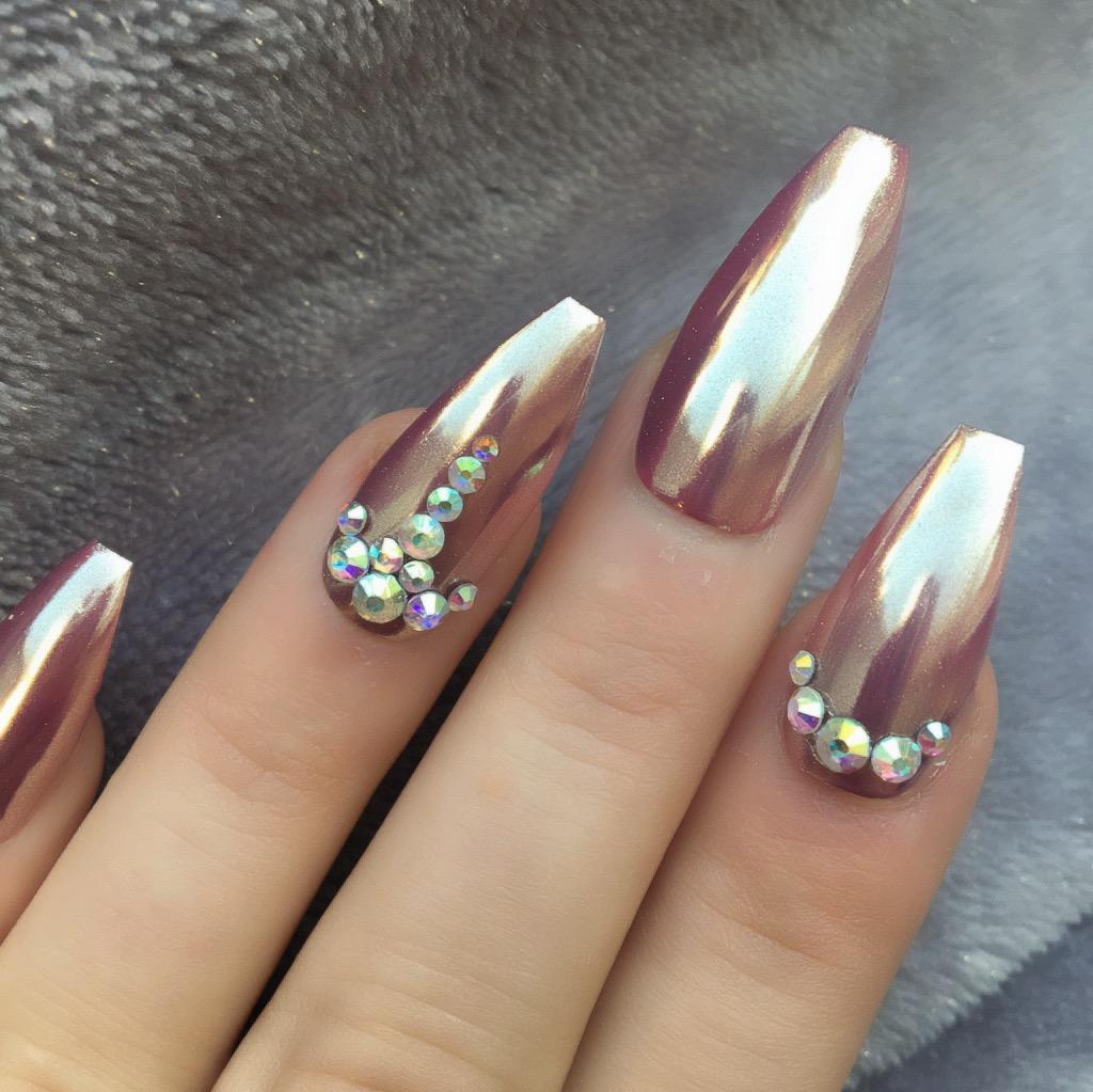 Alice Rose Gold Mirror Long Coffin – Doobys Nails