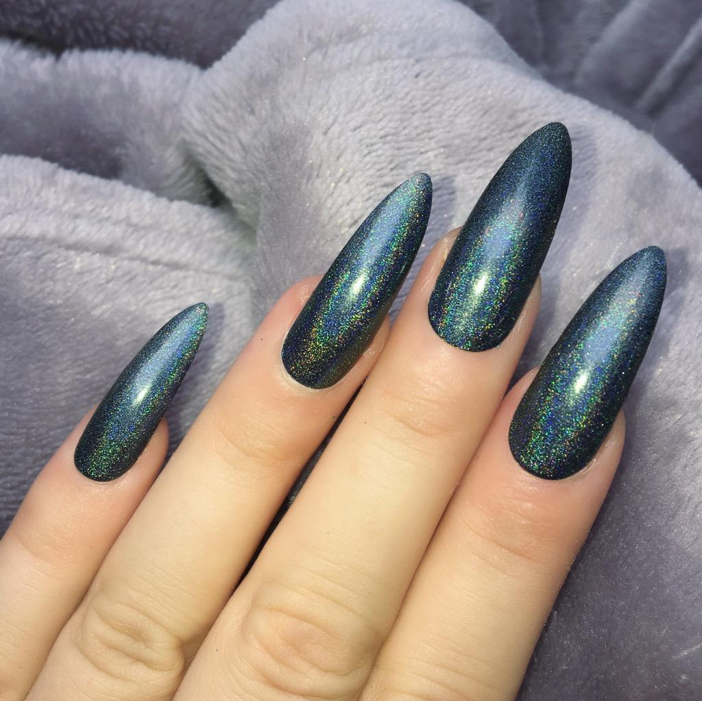Holographic Black Long Stiletto – Doobys Nails