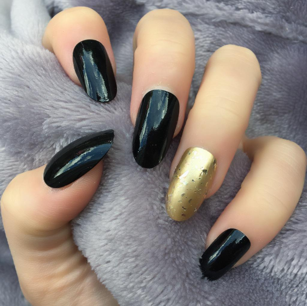 Black Gloss RF Gold Dust Oval – Doobys Nails