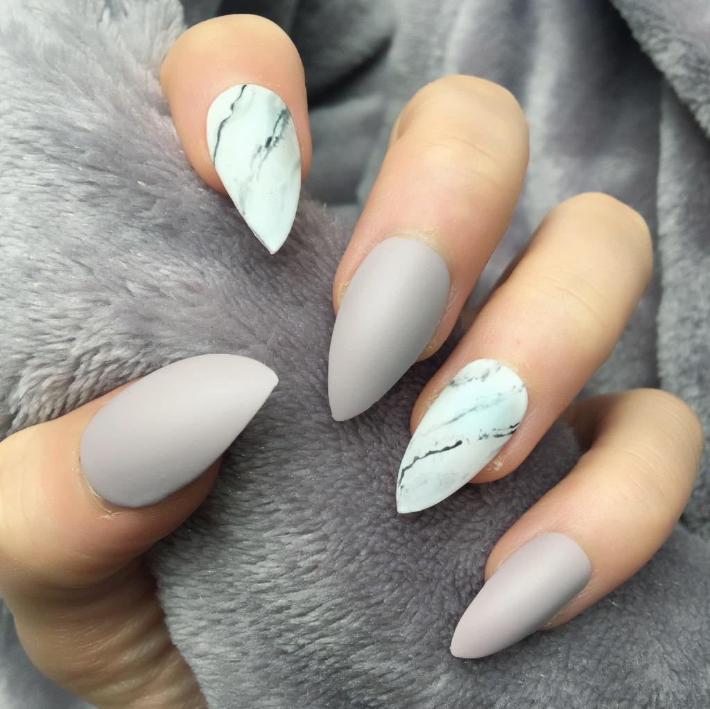 Marble Nail Art Stiletto: Taupe Matte Marble Stiletto