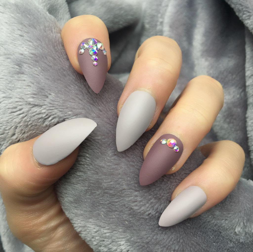 Fancy Taupe Matte Berry Stiletto – Doobys Nails