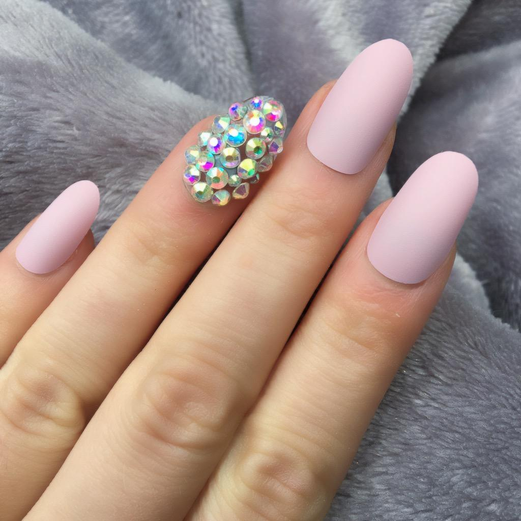 Candy Pink Matte RF Diamante Oval – Doobys Nails