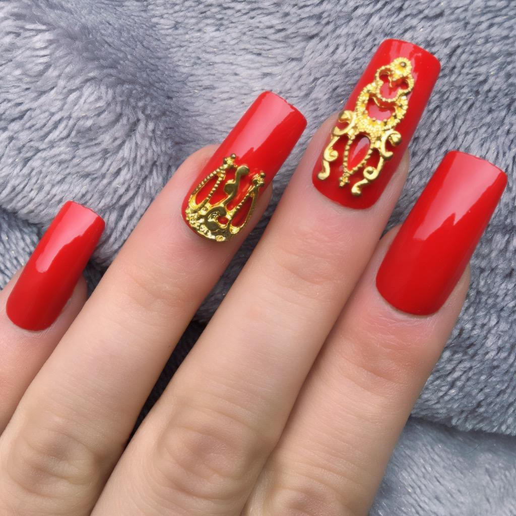 Hot Red Gloss Gold Accent Long Square – Doobys Nails