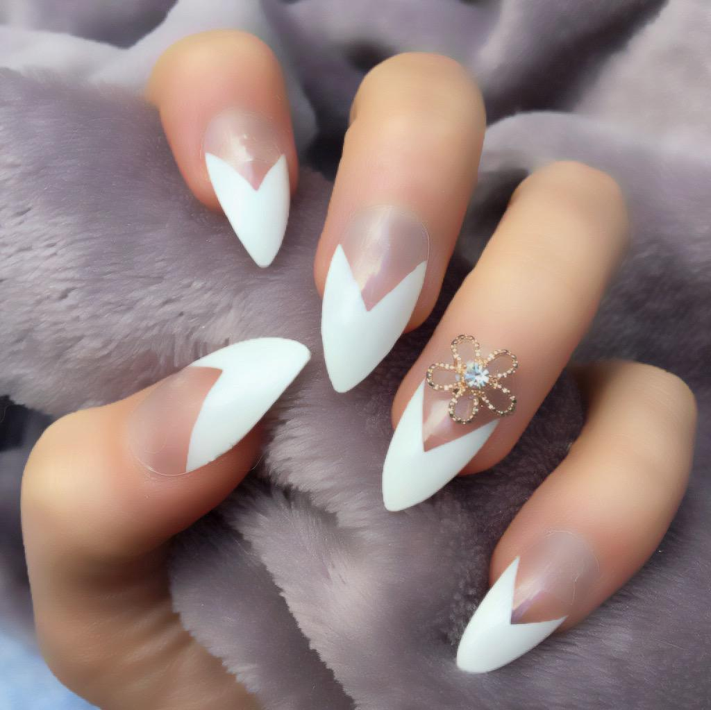 French Manicure RF Lily Stiletto – Doobys Nails